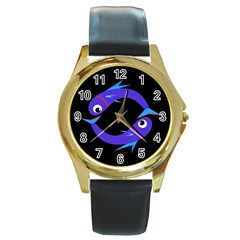Blue fishes Round Gold Metal Watch