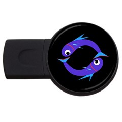 Blue fishes USB Flash Drive Round (1 GB)