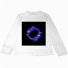 Blue fishes Kids Long Sleeve T-Shirts