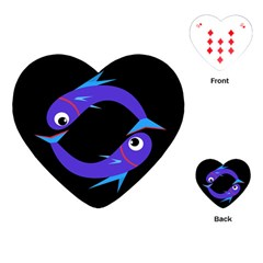 Blue fishes Playing Cards (Heart)