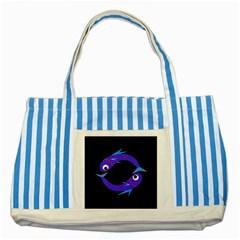 Blue fishes Striped Blue Tote Bag