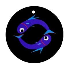 Blue fishes Round Ornament (Two Sides)