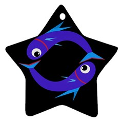 Blue fishes Star Ornament (Two Sides)
