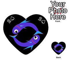 Blue fishes Playing Cards 54 (Heart)