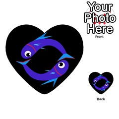 Blue fishes Multi-purpose Cards (Heart)
