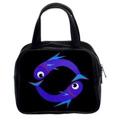 Blue fishes Classic Handbags (2 Sides)