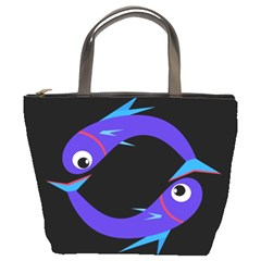 Blue fishes Bucket Bags