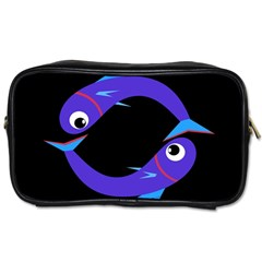 Blue fishes Toiletries Bags 2-Side