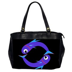 Blue fishes Office Handbags (2 Sides)