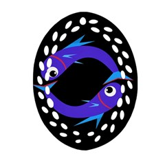 Blue fishes Oval Filigree Ornament (2-Side)
