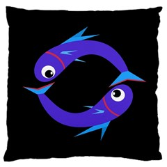 Blue fishes Large Cushion Case (Two Sides)