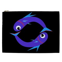 Blue fishes Cosmetic Bag (XXL)
