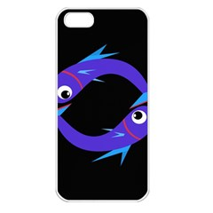 Blue fishes Apple iPhone 5 Seamless Case (White)