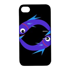 Blue fishes Apple iPhone 4/4S Hardshell Case with Stand