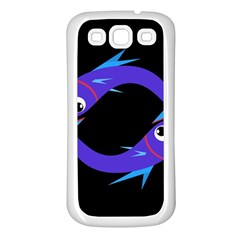Blue fishes Samsung Galaxy S3 Back Case (White)