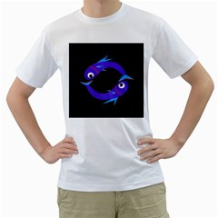 Blue fishes Men s T-Shirt (White)