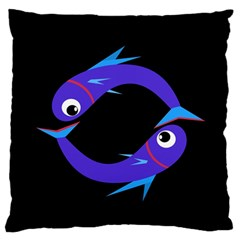 Blue fishes Large Flano Cushion Case (Two Sides)