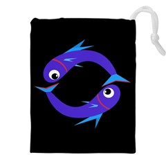 Blue fishes Drawstring Pouches (XXL)