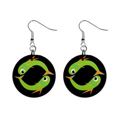 Green fishes Mini Button Earrings