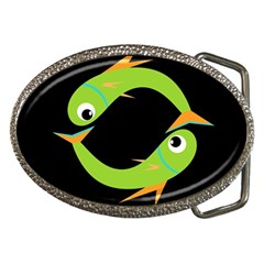 Green fishes Belt Buckles