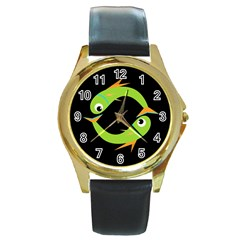 Green fishes Round Gold Metal Watch