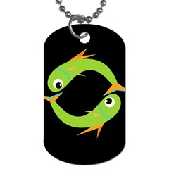 Green fishes Dog Tag (One Side)