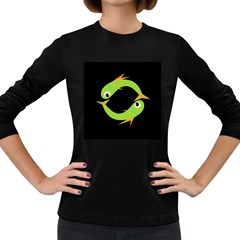 Green fishes Women s Long Sleeve Dark T-Shirts