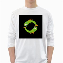 Green fishes White Long Sleeve T-Shirts