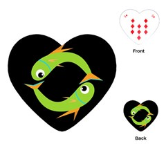 Green fishes Playing Cards (Heart)