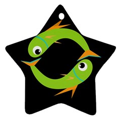 Green fishes Star Ornament (Two Sides)