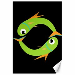 Green fishes Canvas 20  x 30