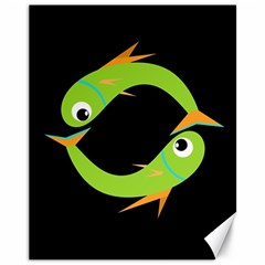 Green fishes Canvas 11  x 14