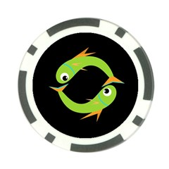 Green fishes Poker Chip Card Guards
