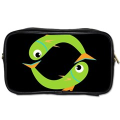 Green fishes Toiletries Bags 2-Side
