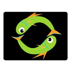 Green fishes Fleece Blanket (Small)