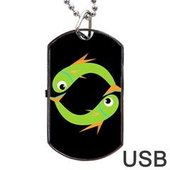 Green fishes Dog Tag USB Flash (One Side)