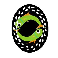 Green fishes Oval Filigree Ornament (2-Side)