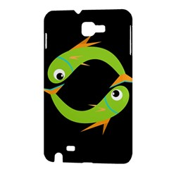 Green fishes Samsung Galaxy Note 1 Hardshell Case