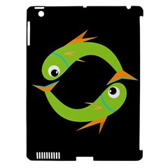 Green fishes Apple iPad 3/4 Hardshell Case (Compatible with Smart Cover)
