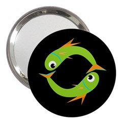Green fishes 3  Handbag Mirrors