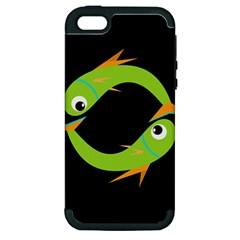 Green fishes Apple iPhone 5 Hardshell Case (PC+Silicone)