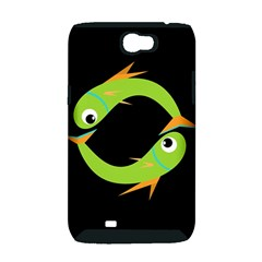 Green fishes Samsung Galaxy Note 2 Hardshell Case (PC+Silicone)