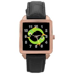 Green fishes Rose Gold Leather Watch