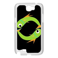 Green fishes Samsung Galaxy Note 2 Case (White)