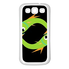Green fishes Samsung Galaxy S3 Back Case (White)