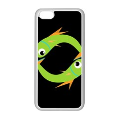 Green fishes Apple iPhone 5C Seamless Case (White)