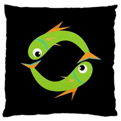 Green fishes Large Flano Cushion Case (Two Sides)