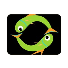 Green fishes Double Sided Flano Blanket (Mini)