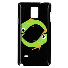 Green fishes Samsung Galaxy Note 4 Case (Black)
