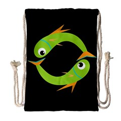 Green fishes Drawstring Bag (Large)